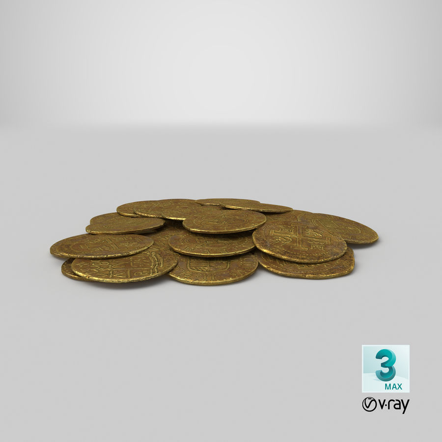 Gold Coin Dirty 1 Flat royalty-free 3d model - Preview no. 21