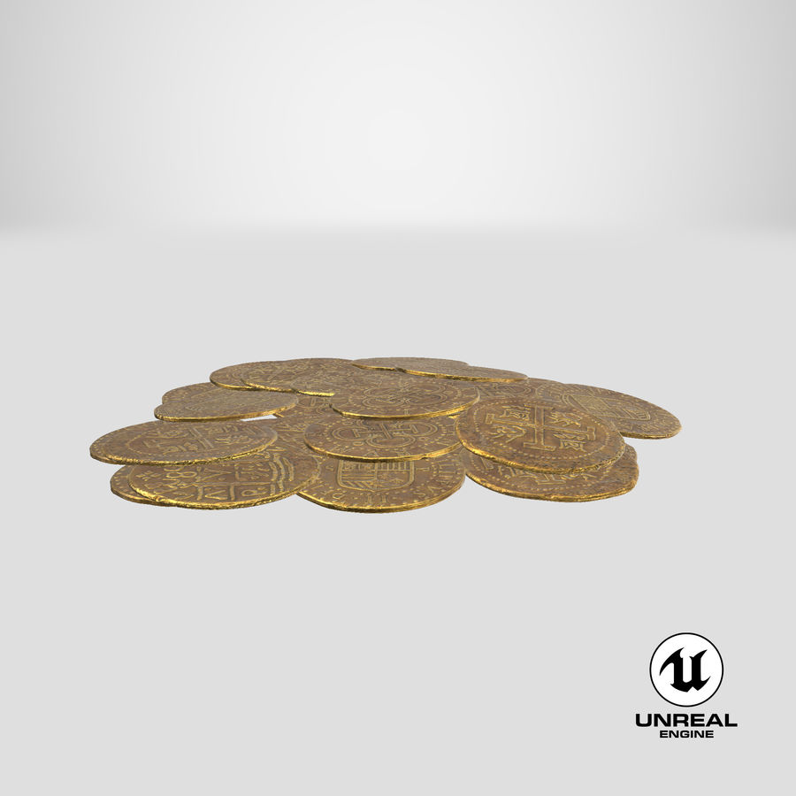 Gold Coin Dirty 1 Flat royalty-free 3d model - Preview no. 24