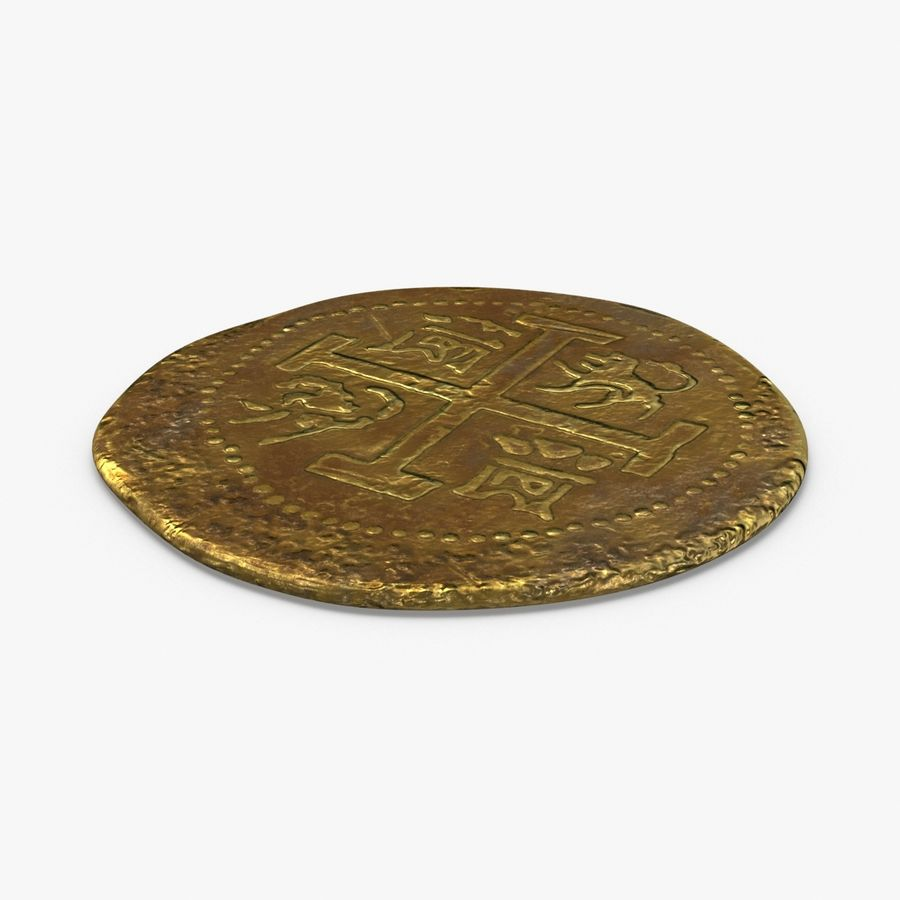 Gold Coin Dirty 1 Flat royalty-free 3d model - Preview no. 1