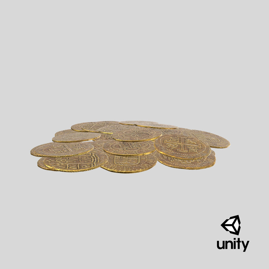 Gold Coin Dirty 1 Flat royalty-free 3d model - Preview no. 25