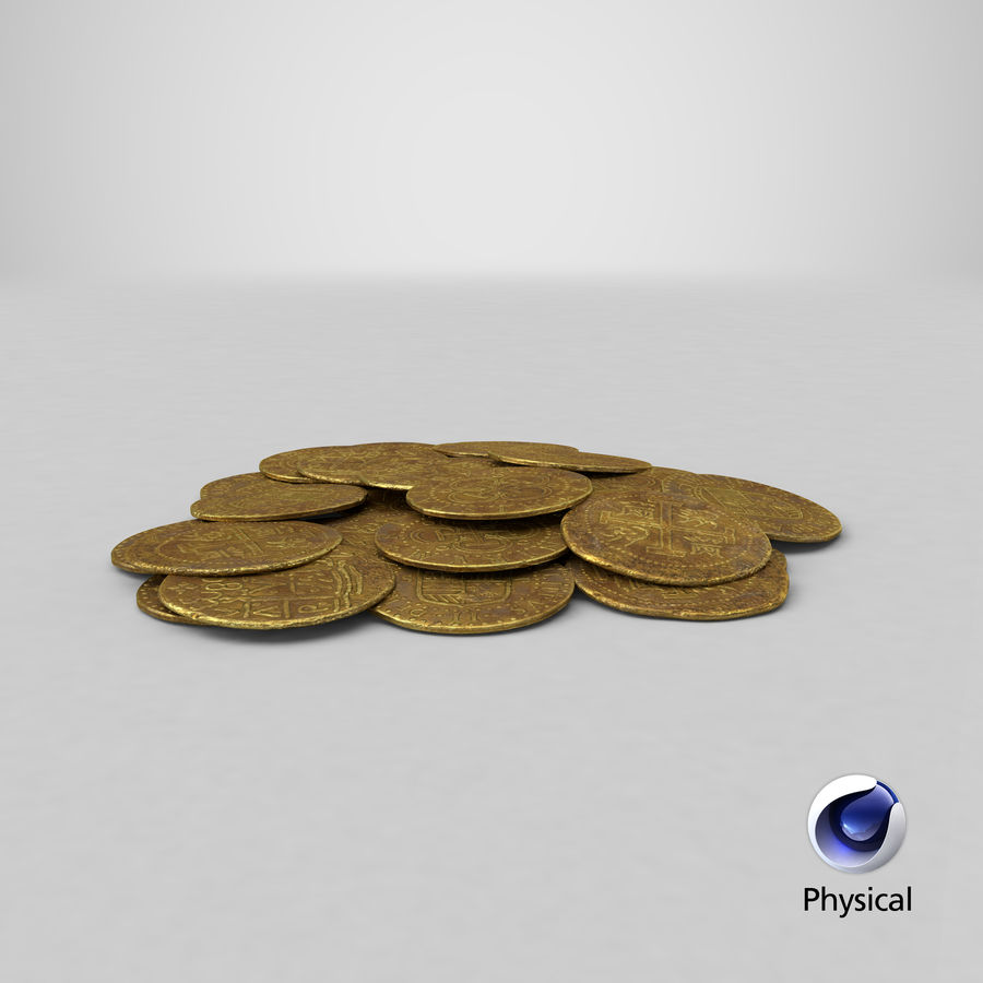 Gold Coin Dirty 1 Flat royalty-free 3d model - Preview no. 23