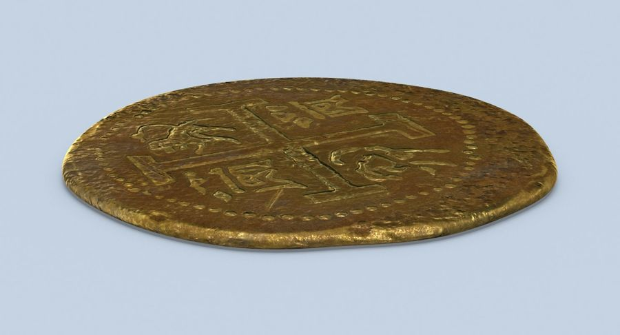 Gold Coin Dirty 1 Flat royalty-free 3d model - Preview no. 6
