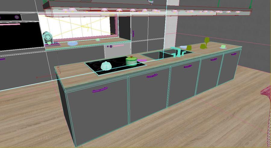 Modern kitchen design royalty-free 3d model - Preview no. 9