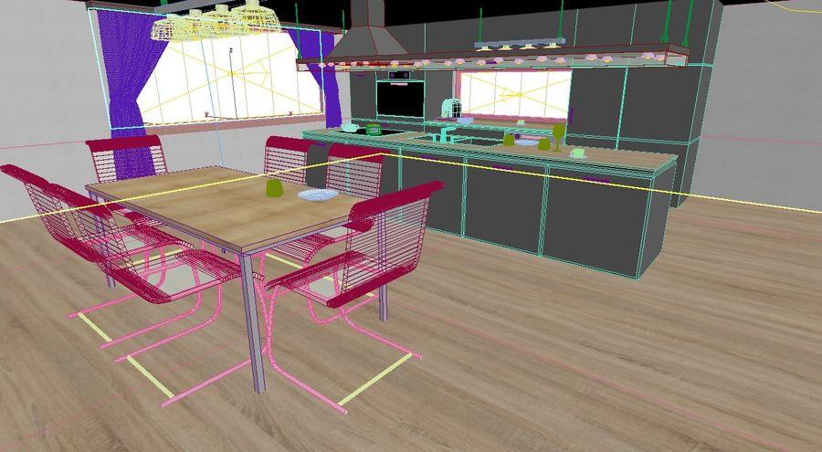 Modern kitchen design royalty-free 3d model - Preview no. 8
