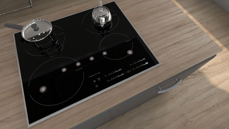 Modern kitchen design royalty-free 3d model - Preview no. 7