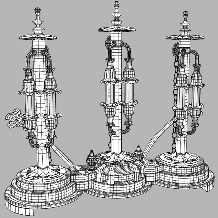 Lampes Steampunk royalty-free 3d model - Preview no. 10