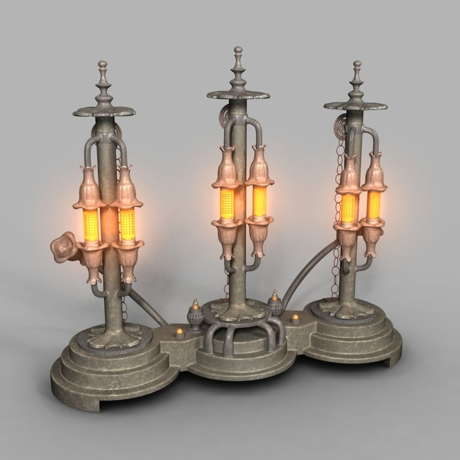 Lampes Steampunk royalty-free 3d model - Preview no. 5
