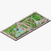 Låg poly stor park med damm och labyrint. 3d model
