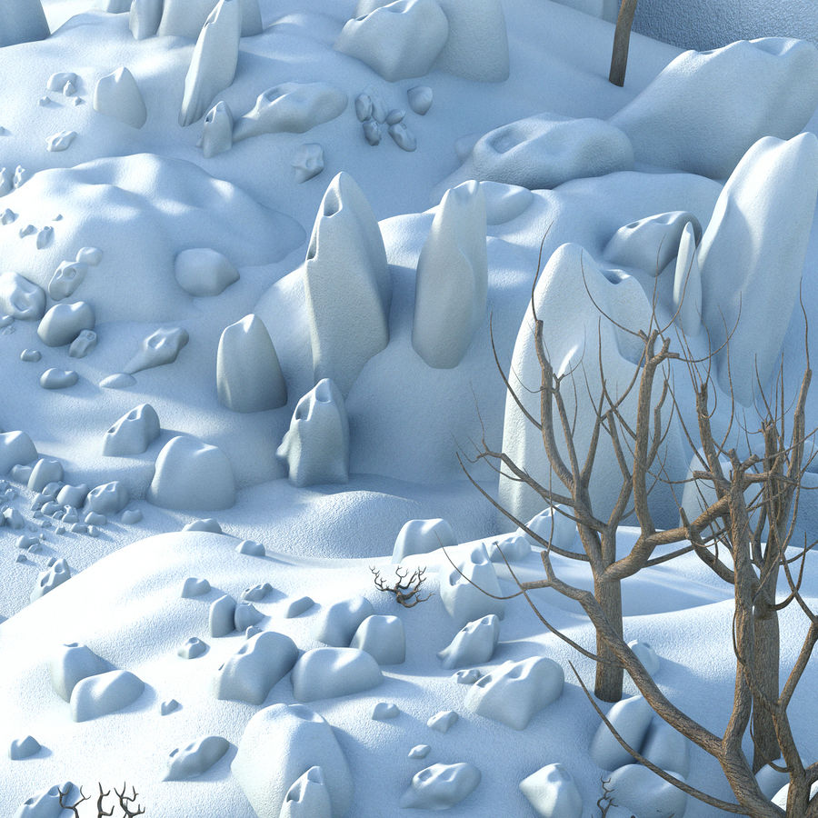 Sneeuw landschap royalty-free 3d model - Preview no. 4