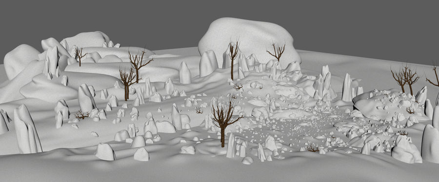 Sneeuw landschap royalty-free 3d model - Preview no. 10