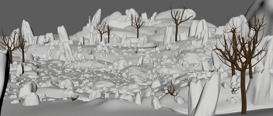 Sneeuw landschap royalty-free 3d model - Preview no. 7