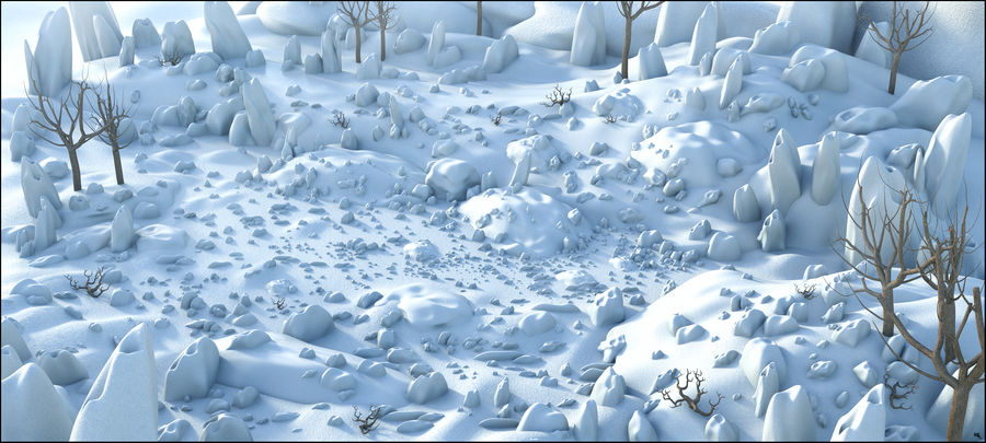 Snow Landscape royalty-free 3d model - Preview no. 1