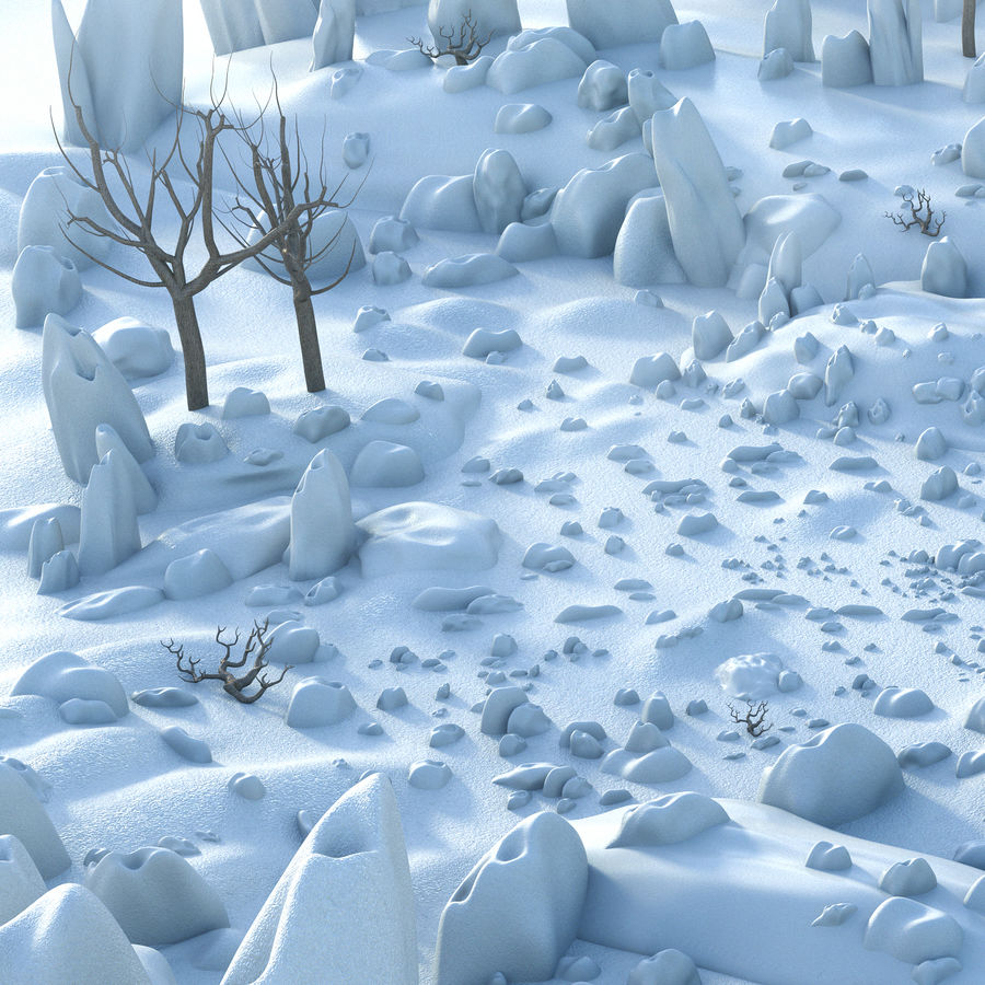 Snow Landscape royalty-free 3d model - Preview no. 3