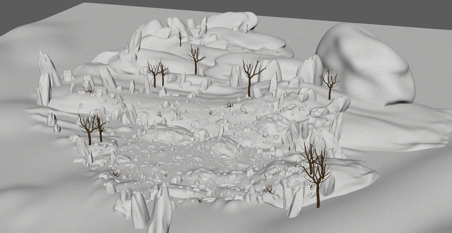 Sneeuw landschap royalty-free 3d model - Preview no. 6