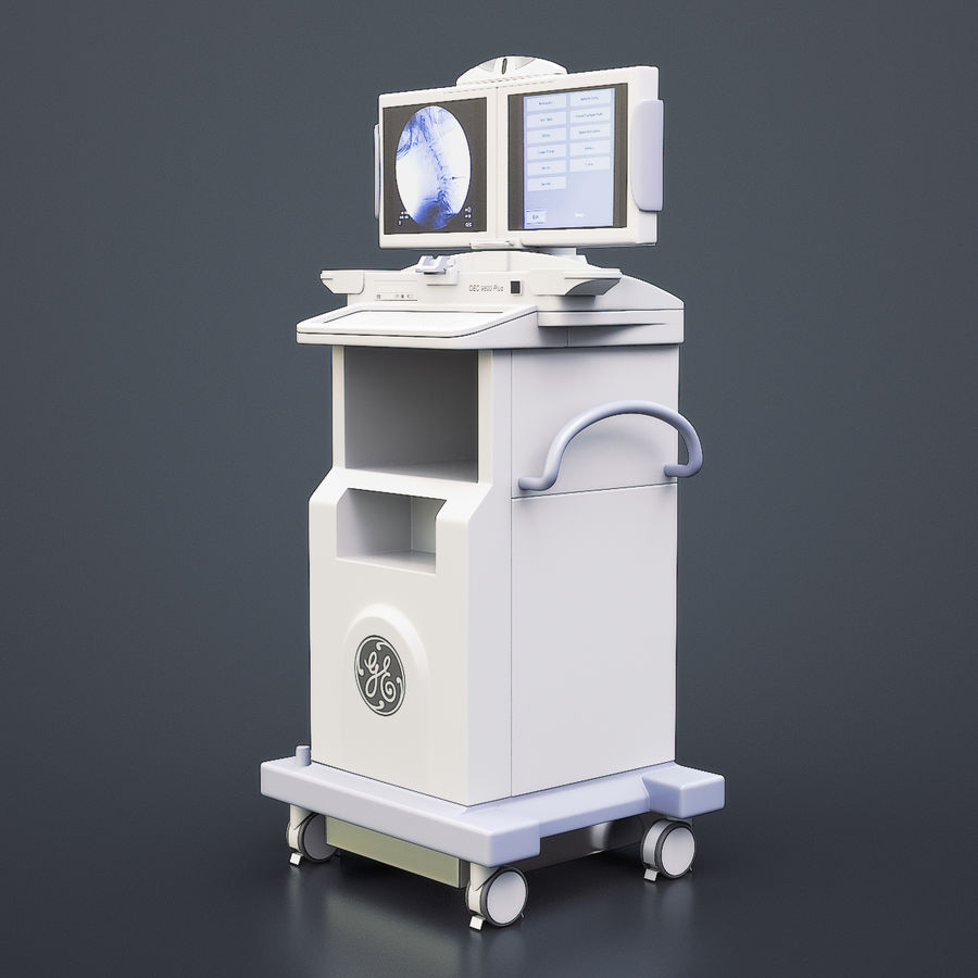 Medical GE C-Arm Cart royalty-free 3d model - Preview no. 3
