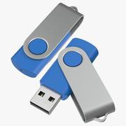 Promosyon USB Stick 03 Blue Mockups Koleksiyonu 3d model