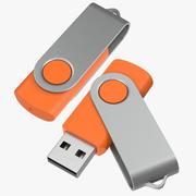 Promosyon USB Stick 03 Turuncu Maketler Koleksiyonu 3d model