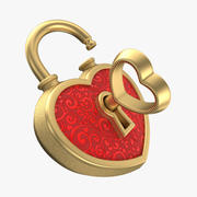 Heart Lock Gold 3d model