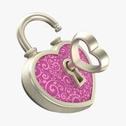 Heart Lock Silver 3d model