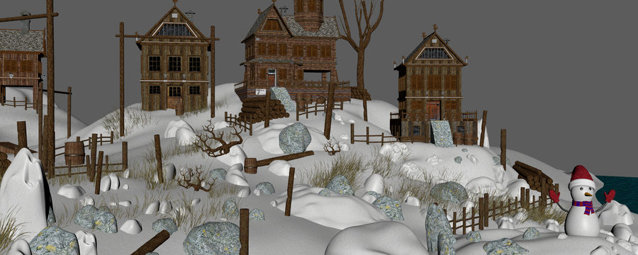 Winter Town Landscape royalty-free 3d model - Preview no. 12