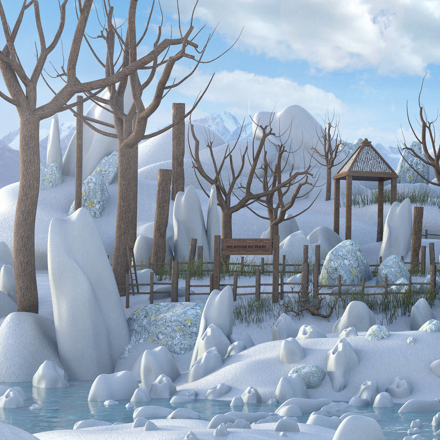 Winter Town Landscape royalty-free 3d model - Preview no. 3