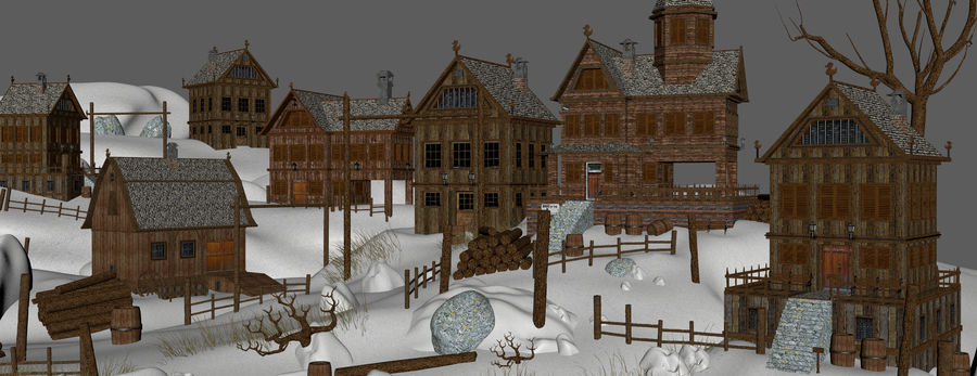 Winter Town Landscape royalty-free 3d model - Preview no. 10