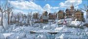 Winter Town Landscape 3d model
