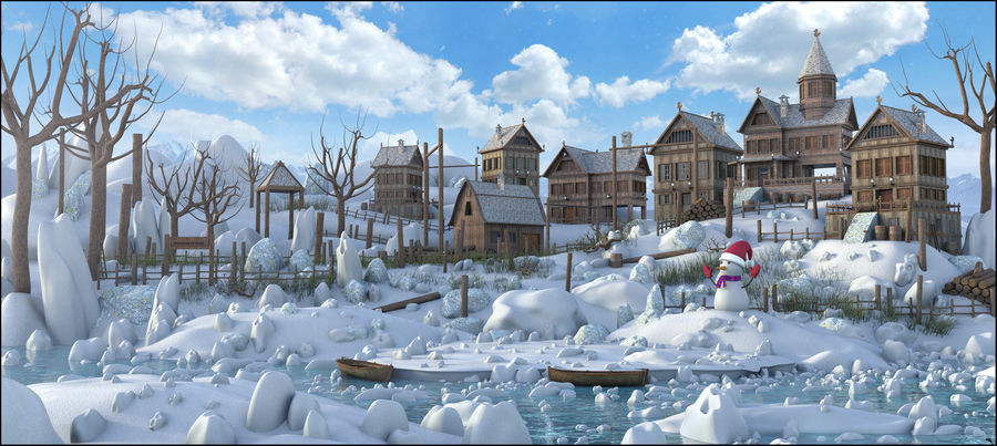 Winter Town Landscape royalty-free 3d model - Preview no. 1