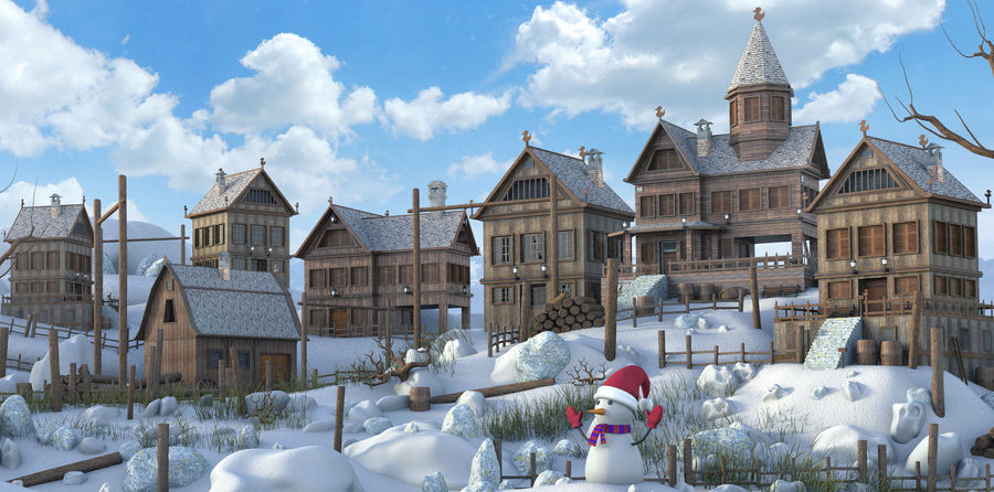 Winter Town Landscape royalty-free 3d model - Preview no. 5