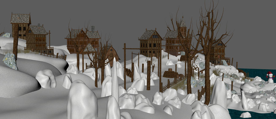 Winter Town Landscape royalty-free 3d model - Preview no. 14