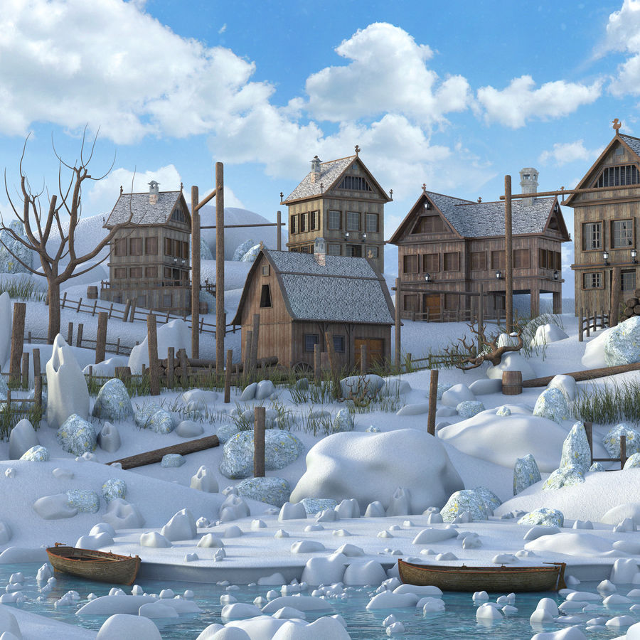Winter Town Landscape royalty-free 3d model - Preview no. 4