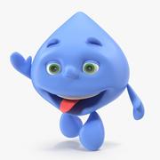 Water Drop Mascot Character agitant modèle 3D 3d model