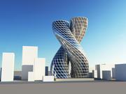 3D Futuristische Wolkenkrabbersscène 3d model
