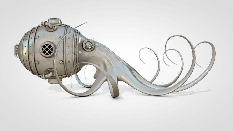 Poulpe Steampunk royalty-free 3d model - Preview no. 5