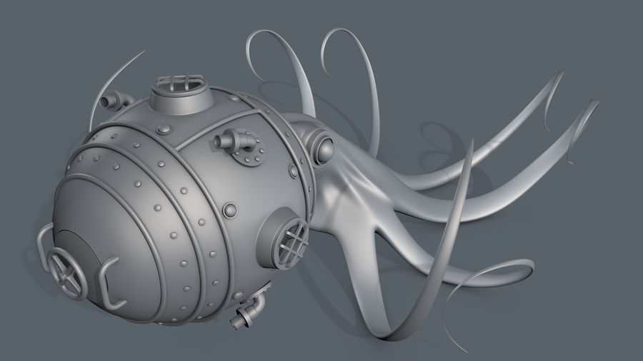 Poulpe Steampunk royalty-free 3d model - Preview no. 10