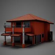 Villa Latina Hacienda Moderna Vermelha 3d model