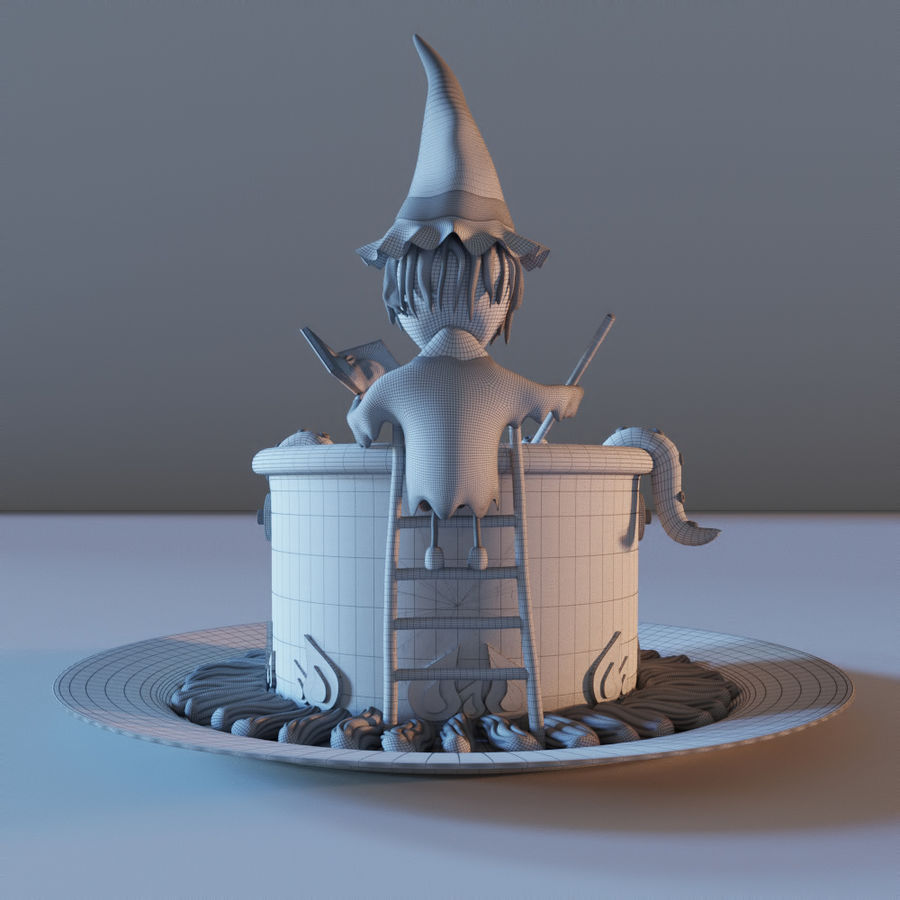 Haloween cake Witch royalty-free 3d model - Preview no. 4