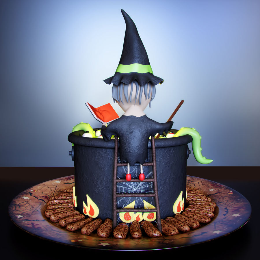 Haloween cake Witch royalty-free 3d model - Preview no. 2