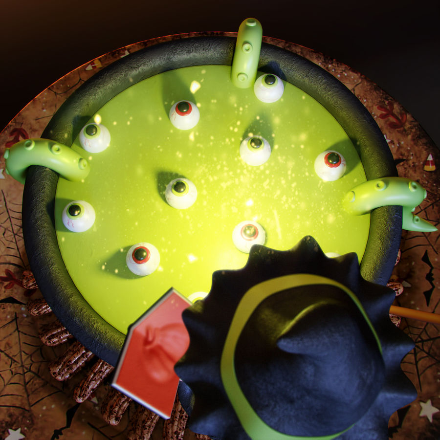 Haloween cake Witch royalty-free 3d model - Preview no. 3