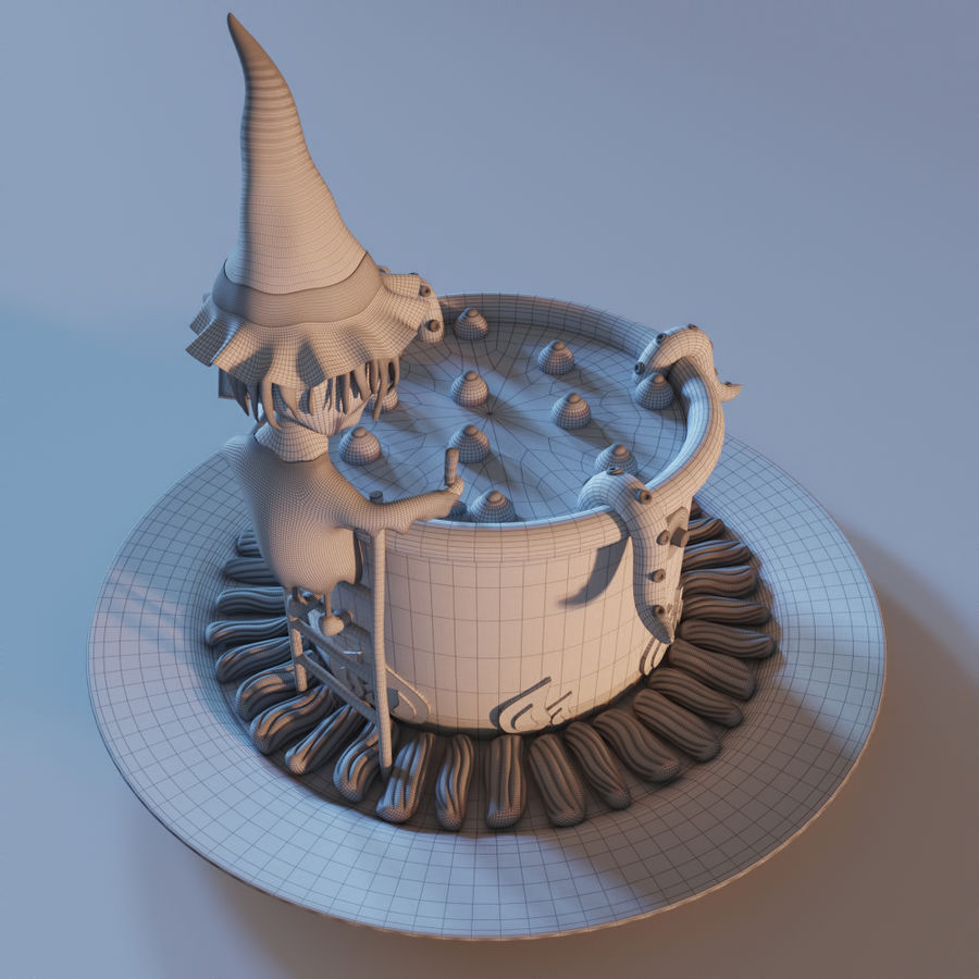 Haloween cake Witch royalty-free 3d model - Preview no. 5