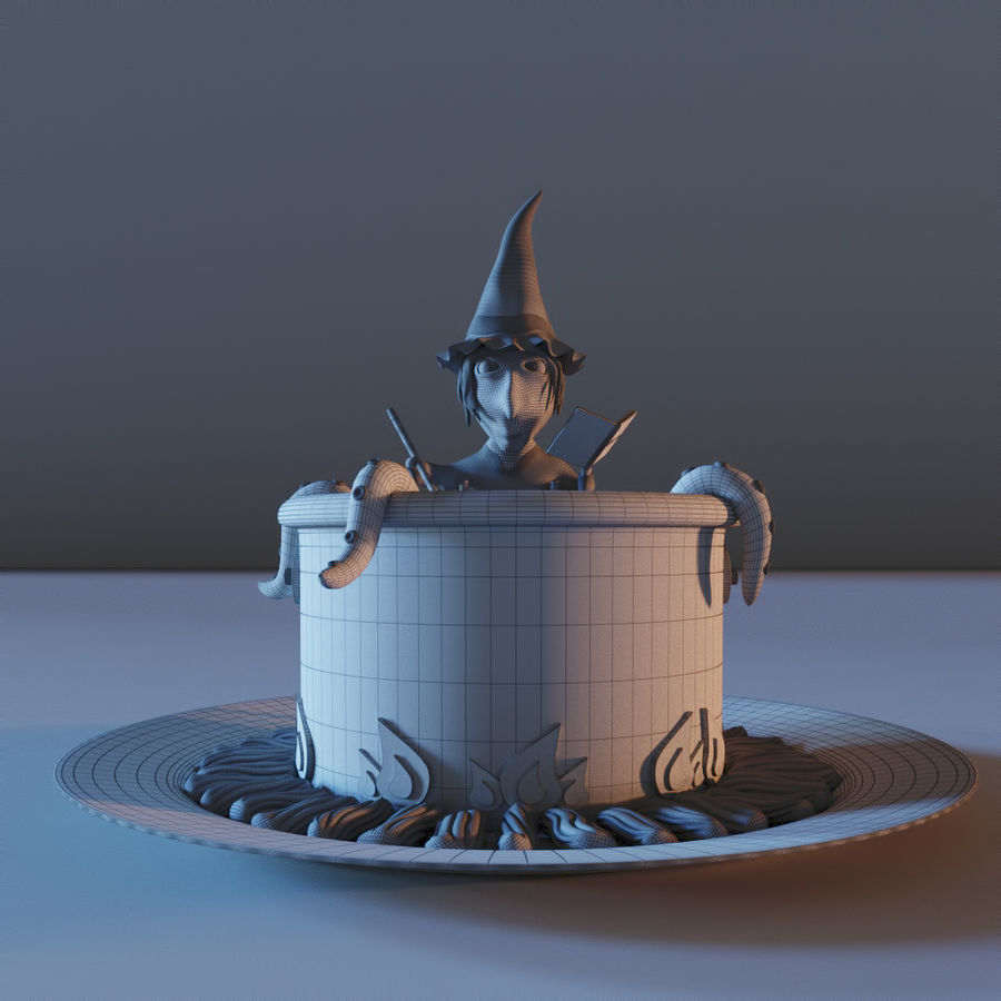 Haloween cake Witch royalty-free 3d model - Preview no. 6