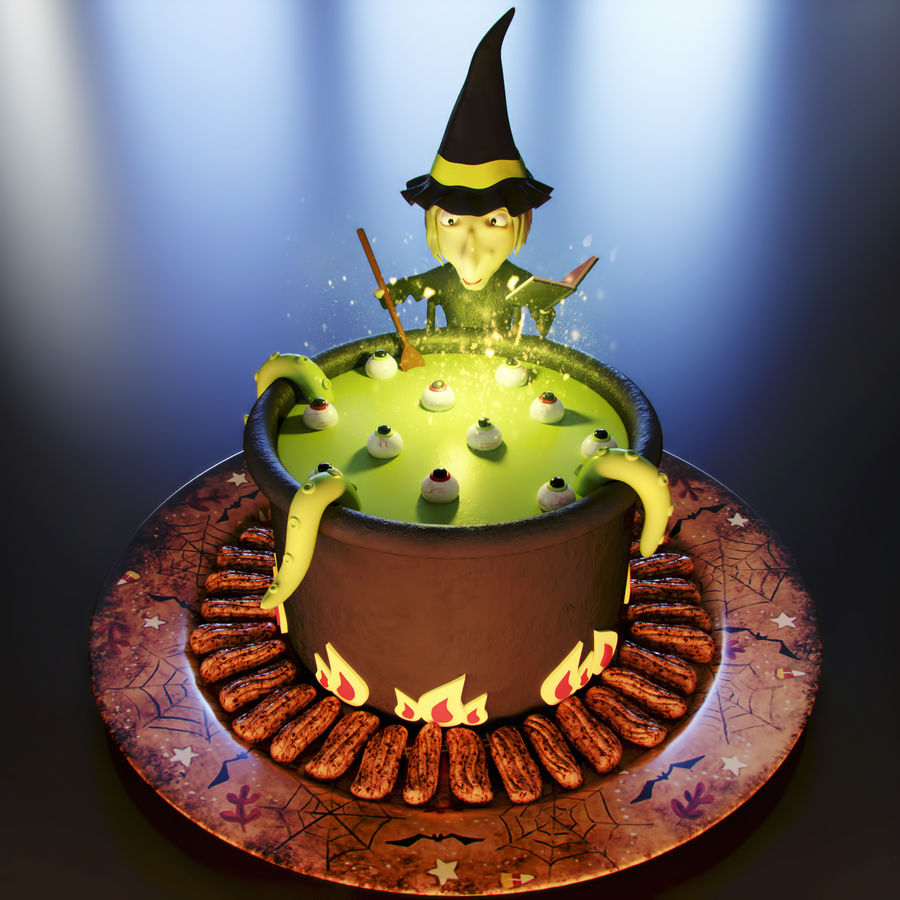 Haloween cake Witch royalty-free 3d model - Preview no. 1