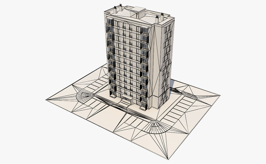 多层建筑_1 royalty-free 3d model - Preview no. 12