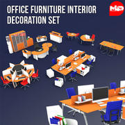 Office Furniture Interior Decoration Set 3d model