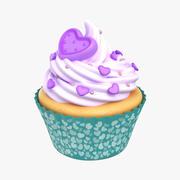 Cupcake Heart Purple 3d model