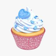 Cupcake Heart Blue 3d model
