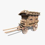 로우 폴리 목재 캐리지 3d model