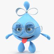 Water Drop Cartoon Lady Character Modèle 3D 3d model