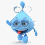 Waterdruppel Cartoon Lady Character 3D-model zwaaien 3d model