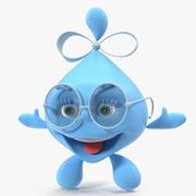Kropla wody postać z kreskówki dama uśmiechnięty model 3D 3d model
